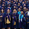 The College of Law graduation candidates pose for a photo on the steps outside the Creative Arts Center on May 10, 2019. (Photo Chris Young)