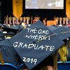 A decorated graduation cap at the John Chambers College of Business and Economics graduation ceremony on May 11, 2019. (Photo Chris Young)