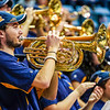 A WVU Pep Band member playing during a timeout at a women's basketball game on Jan. 15, 2020.  Photo: Kallie Nealis.