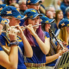 A WVU Pep Band member playing the flute during a timeout at a women's basketball game on Jan. 15, 2020.  Photo: Kallie Nealis.