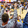 The student section cheers on WVU during freethrows at the men's basketball game facing OK State on Feb. 18, 2020. Photo by Kallie Nealis.