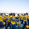 The WVU football team sings country roads after their home win vs Kansas State, Oct. 31, 2020. Photo: Corbin Mills