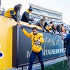 WVU defensive back Tony Fields II celebrates after WVU's home win vs Kansas State, Oct. 31, 2020. Photo: Corbin Mills