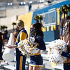 WVU cheerleaders cheer on the Mountaineers during WVU's home game against Kansas State, Oct. 31, 2020. Photo: Corbin Mills