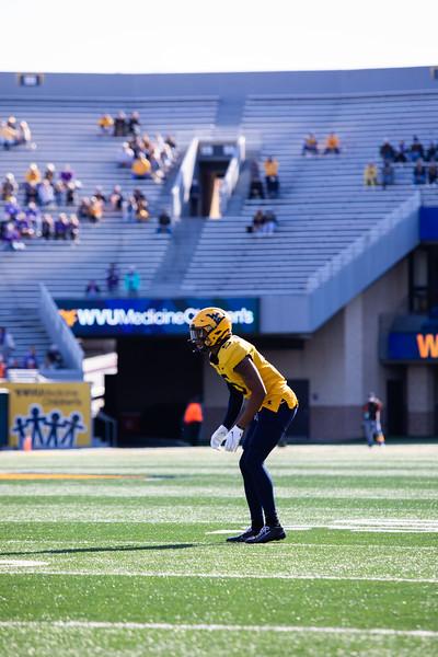 WVU cornerback Dreshun Miller readies himself for a snap on defense during WVU's home game against Kansas State, Oct. 31, 2020. Photo: Corbin Mills