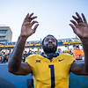 WVU wide receiver TJ Simmons celebrates after WVU's home win vs Kansas State, Oct. 31, 2020. Photo: Corbin Mills