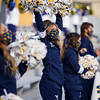 WVU cheerleaders get the crowd excited during a win over TCU, Nov. 14, 2020. Photo: Geoff Coyle