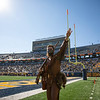 Mountaineer Mascot Colson Glover holds up a 3 fingers to cheer on WVU's defense on third down during their game against Kansas State, Oct. 31, 2020. Photo: Corbin Mills