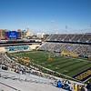 Fans socially distance in Milan Puskar Stadium during WVU's home game against Kansas State, Oct. 31, 2020. Photo: Corbin Mills
