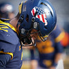 WVU quarterback Jarret Doege sports a special helmet decal in celebration of Veterans Day for a football game against TCU, Nov. 14, 2020. Photo: Geoff Coyle