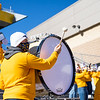 A member of the Pride of West Virginia plays a drum during WVU's home game against Kansas State, Oct. 31, 2020. Photo: Corbin Mills