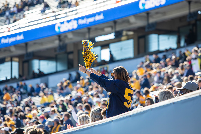 A masked WVU fan cheers on the Mountaineers during their home game against Kansas State, Oct. 31, 2020. Photo: Corbin Mills