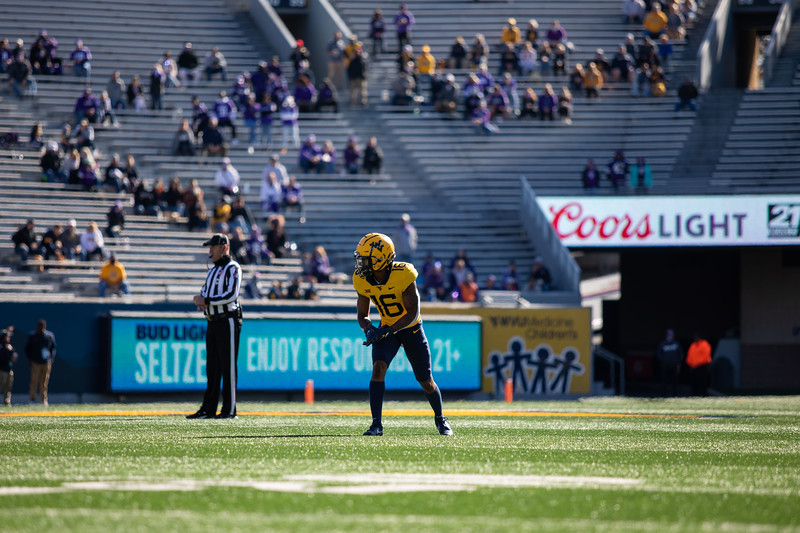 WVU wide receiver Winston Wright Jr. readies himself for a snap on offense during WVU's home game against Kansas State, Oct. 31, 2020. Photo: Corbin Mills