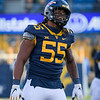 WVU defender Dante Stills celebrates a big play in the second half of a win over TCU, Nov. 14, 2020. Photo: Geoff Coyle