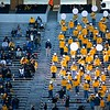 The Pride of West Virginia socially distances in the stands during WVU's home game vs Kansas State, Oct. 31, 2020. Photo: Corbin Mills