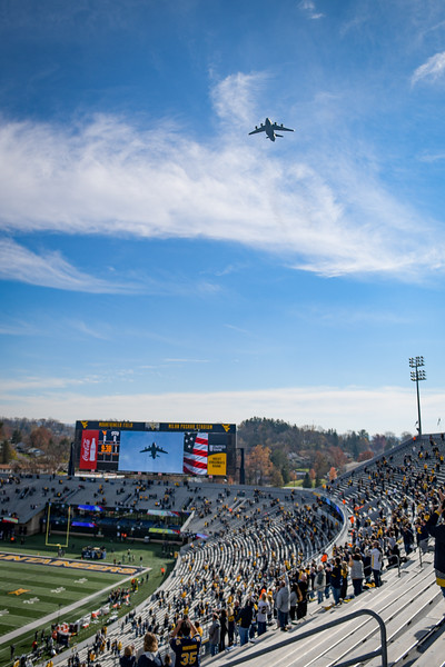 The 167th Air National Guard performs a stadium flyover during the National Anthem before a WVU kickoff against TCU, Nov. 14, 2020. Photo: Geoff Coyle