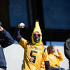 A WVU student dressed in a Halloween costume cheers on the Mountaineers during their home game vs Kansas State, Oct. 31, 2020. Photo: Corbin Mills