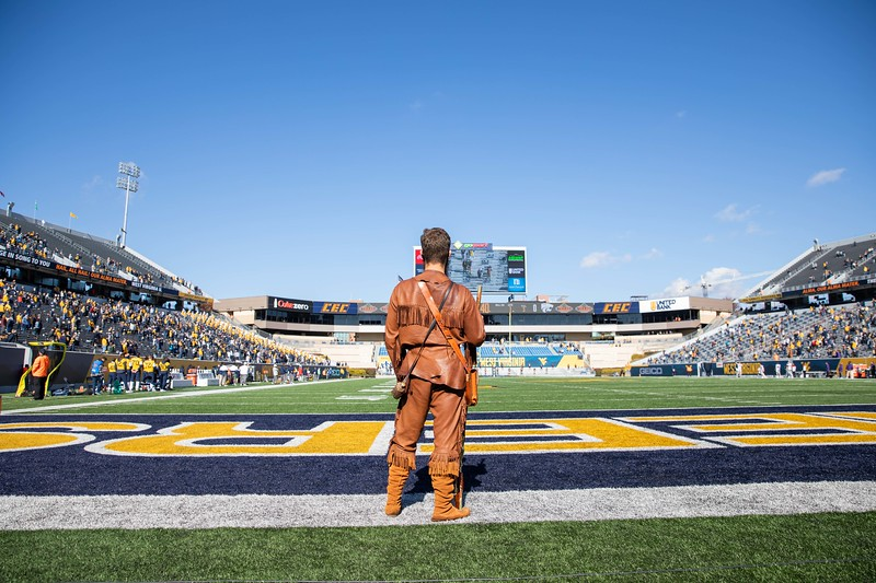 Mountaineer mascot Colson Glover stands on Mountaineer Field prior to WVU's home game against Kansas State, Oct. 31, 2020. Photo: Corbin Mills