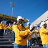 A member of the Pride of West Virginia plays a cymbal during WVU's home game against Kansas State, Oct. 31, 2020. Photo: Corbin Mills