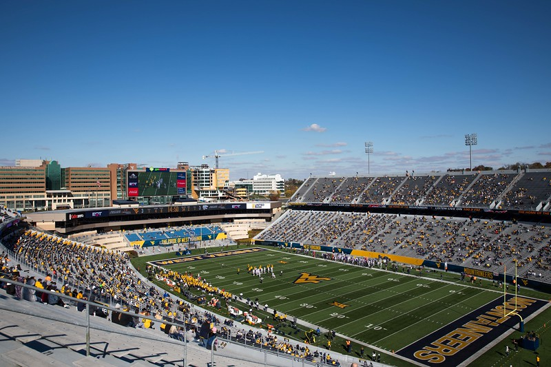 Fans socially distance in Milan Puskar Stadium during WVU's home game against Kansas State, Oct. 31, 2020. Photo: Corbin Mills