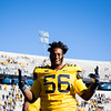 WVU defensive lineman Darius Stills celebrates after WVU's home win vs Kansas State, Oct. 31, 2020. Photo: Corbin Mills