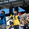 Two young WVU fans dance in the stands during WVU's home game against Kansas State, Oct. 31, 2020. Photo: Corbin Mills