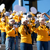 Members of the Pride of West Virginia play their instruments during WVU's home game against Kansas State, Oct. 31, 2020. Photo: Corbin Mills