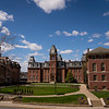 Woodburn Circle on a sunny spring day at West Virginia University, April 2, 2020. Photo: Geoff Coyle