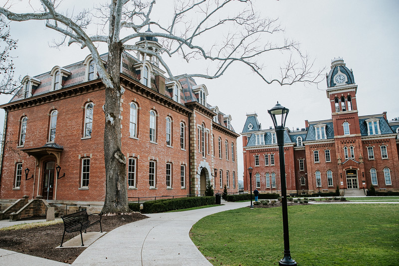 """Downtown campus scenes on March 24, 2020. The state recently enacted a """"Stay at home"""" warning for all WV residents due to the Coronavirus. Photo by Alex King"""