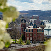 Woodburn Hall on a sunny spring day at West Virginia University, March 29, 2020. Photo: Geoff Coyle