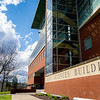 The Life Sciences Building at West Virginia University on a sunny spring day, March 29, 2020. Geoff Coyle