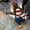 Social Media Specialist, Morgan Goff enjoys taking photos of Ginger, a member of UPD's K-9 unit on Feb. 14, 2020. Photo by Kallie Nealis.