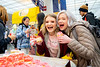 Two WVU students hold up their Valentine's Day cupcakes inside the Mountainlair, Feb. 14, 2020. Photo: Geoff Coyle