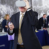 Vice President for Strategic Initiatives, Rob Alsop gives our virtual reality goggles a try at WVU Day at the Legislature in Charleston, WV on Jan. 21, 2020. Photo: Kallie Nealis.