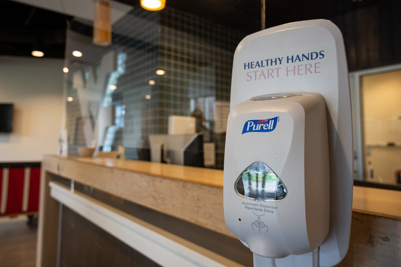 A hand sanitizing station and screen installed at Oakland Hall during the Covid-19 Coronavirus global pandemic. (Photo Chris Young).