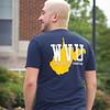 Student models a fan shirt at Oglebay Plaza on a summer day at West Virginia Univesity, June 20, 2020. Photo: Adrienne Kemp-Rye