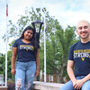 Students model fan shirts at Oglebay Plaza on a summer day at West Virginia Univesity, June 20, 2020. Photo: Adrienne Kemp-Rye