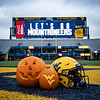 The Mountaineers are in the Halloween spirit for a home football game at Milan Puskar Stadium, Oct. 31, 2020. Photo: Geoff Coyle