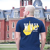 Student models a fan shirt at Oglebay Plaza on a summer day at West Virginia Univesity, June 20, 2020. Photo: Adrienne Kemp-Rye