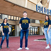 Students model potential Ultimate Mountaineer Fan t-shirts for the competition on February 19, 2020 at the Coliseum.