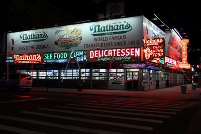 Brooklyn, NY / USA - January 3, 2019: Nathans at early evening in Coney Island.
