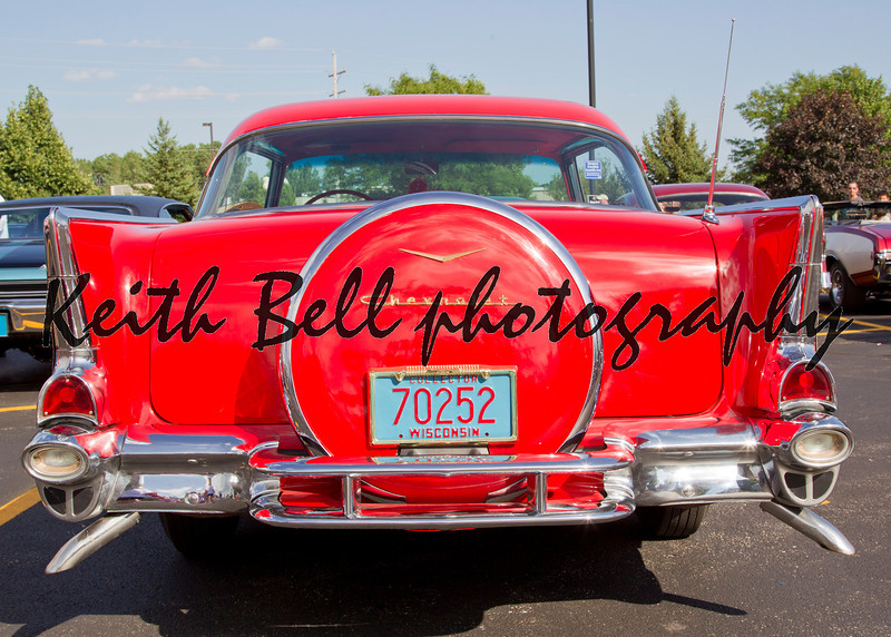 APPLETON, WI - JULY 21: Back view Red 1957 Chevy Chevrolet Bel Air Two Door at the 18th Annual WVBO Classic Car Show and Cruise at Fox Valley Technical College on July 21, 2012 in Appleton, Wisconsin.