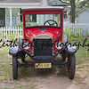 WAUPACA, WI - AUGUST 25: Front view of a 1926 Ford Model T red car at the 10th Annual Waupaca Rod & Classic Car Club Car Show on August 25, 2012 in Waupaca, Wisconsin.