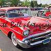 APPLETON, WI - JULY 21: Red 1957 Chevy Chevrolet Bel Air Two Door at the 18th Annual WVBO Classic Car Show and Cruise at Fox Valley Technical College on July 21, 2012 in Appleton, Wisconsin.