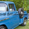 COMBINED LOCKS, WI - AUGUST 18:  Profile view of a blue 1958 Chevy Apache classic truck at the 2nd Annual Horizon of Hope Generations Car and Truck Show on August 18, 2012 in Combined Locks, Wisconsin.