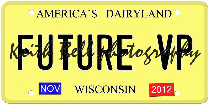 An imitation Wisconsin license plate with November 2012 stickers and Future VP signaling the chance for Paul Ryan to be Vice President.