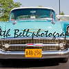 APPLETON, WI - JULY 21: The Front of a Powder Blue and White 1957 Chevy or Chevrolet Bel Air at the 18th Annual WVBO Classic Car Show and Cruise at Fox Valley Technical College on July 21, 2012 in Appleton, Wisconsin.