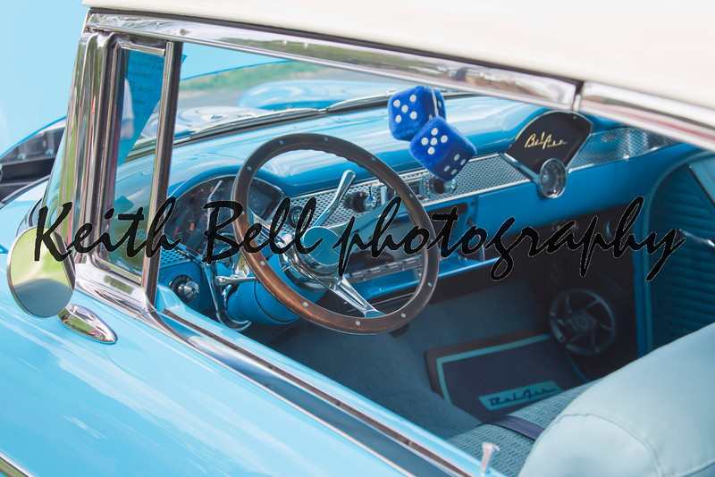 COMBINED LOCKS, WI - AUGUST 18: Interior of 1955 Chevrolet Bel Air Aqua Blue & White car at the 2nd Annual Horizon of Hope Generations Car and Truck Show on August 18, 2012 in Combined Locks, Wisconsin.