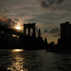 Brooklyn Bridge toward Manhattan at Sunset
