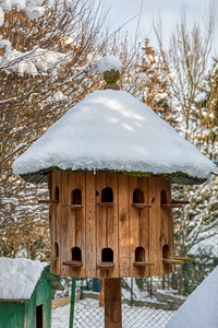 Wooden Dovecote with a roof cowered by snow